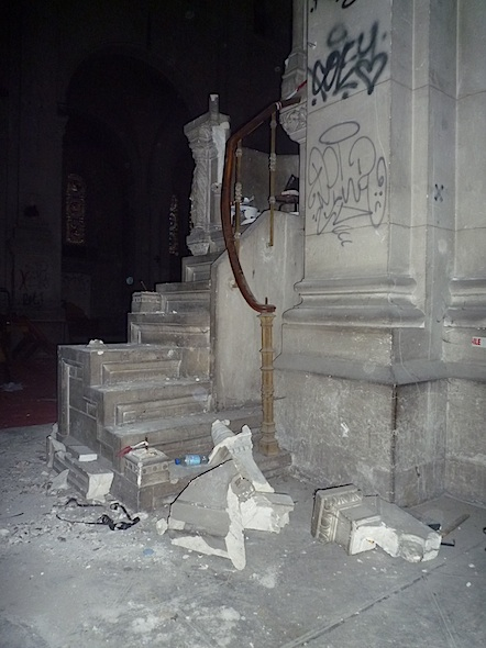destroyed puplit of an abandoned church in lyon, france